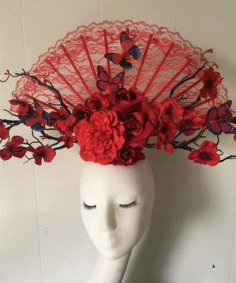 Red Flowers, Butterflies, Retro-Chinese Style Stage Style, Exaggeration Fan Show, Photographic Hair Accessories