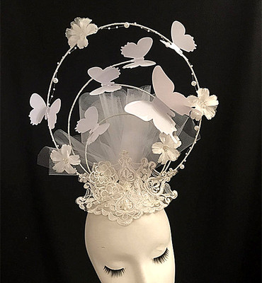 Euro-American style high-end hand-made T-stage performance accessories exaggerated screen butterfly personality crown headdress