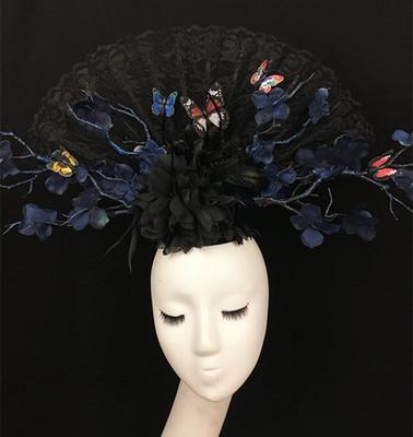 Chinese National Style Black Lace Flowers Butterfly Stage Exaggerated Creative Fan Headdress