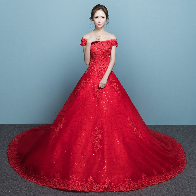 USD 184.92] Shoulder wedding dress red 2018 new style Long tailed ...