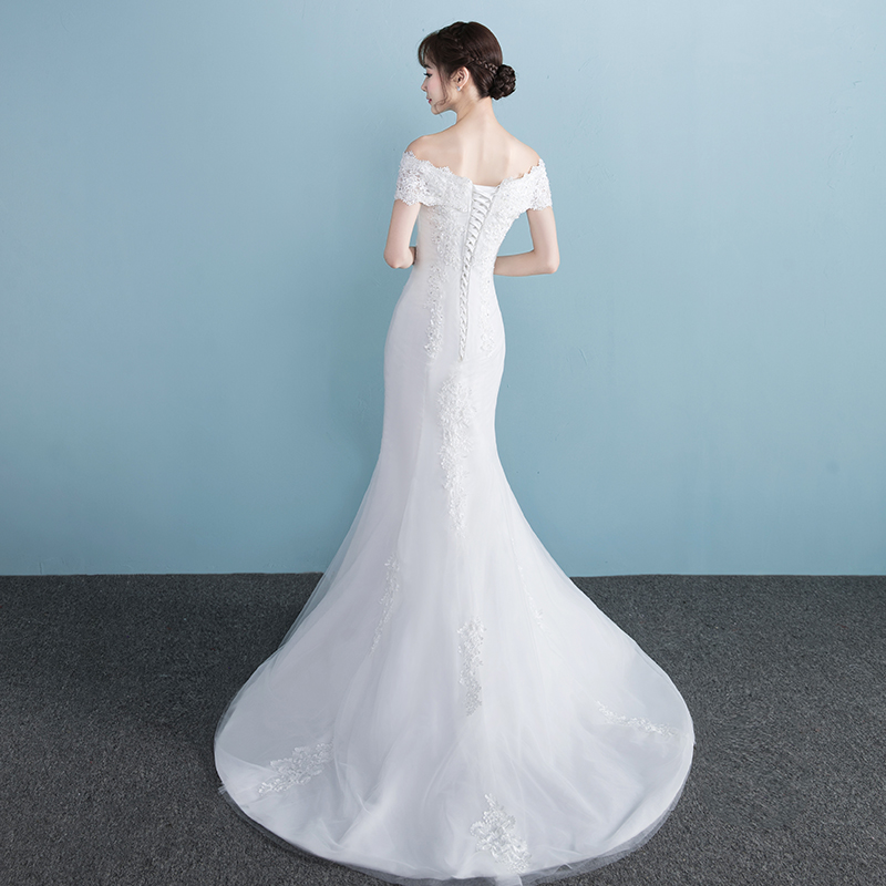 One-shoulder wedding dress 2018 new bride married slim slimming ...