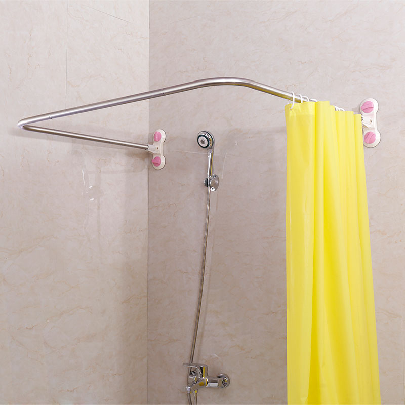 bathroom nickel rod rods curved shower curtain
