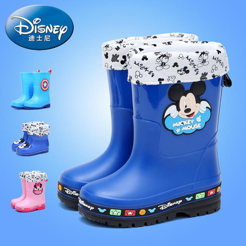 Дисней детские Ботинки дождя на мальчика Водные ботинки на девочку Ботинки дождя детские Водные сапоги, дети, большие дети нескользящие Резиновая обувь