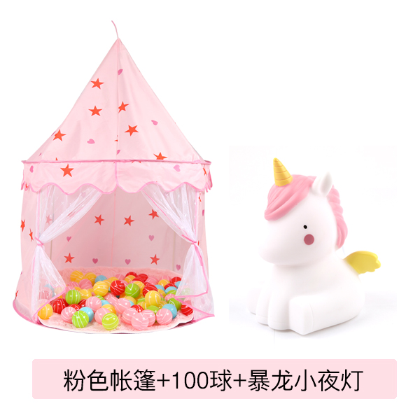 Pink Princess Castle +100 Balls + Unicorn Lamp% 20 Collection Get 10 Balls + Ball Frame