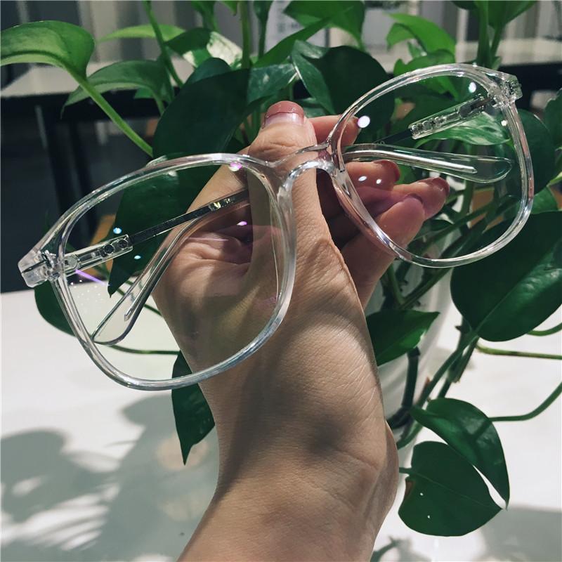眼镜女韩版潮透明素颜神器百搭圆脸显瘦显脸小网红大框抖音眼镜男