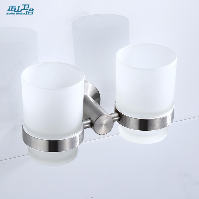 Zhengshan ванной 304 нержавеющей стали ванной кружка держатель держатель зубной щетки щеткой чашка держатель чашки двойной чашкой 5304