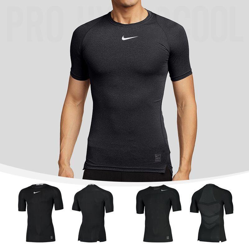 2a8c2648 Nike Nike pro колготки с короткими рукавами футболка быстросохнущая одежда  фитнес мужская одежда износ дышащая баскетбольная футбольная спортивная  одежда