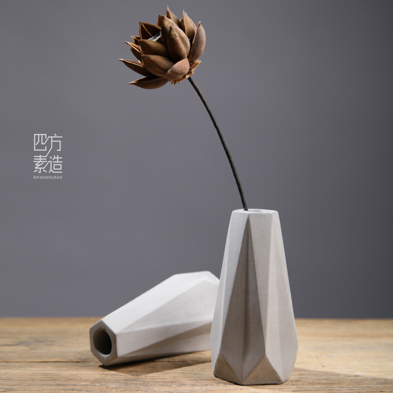 Nordic simple modern flower vase cement industrial wind flower ornaments Europe and the United States Chinese living room home decorations & USD 21.54] Nordic simple modern flower vase cement industrial wind ...