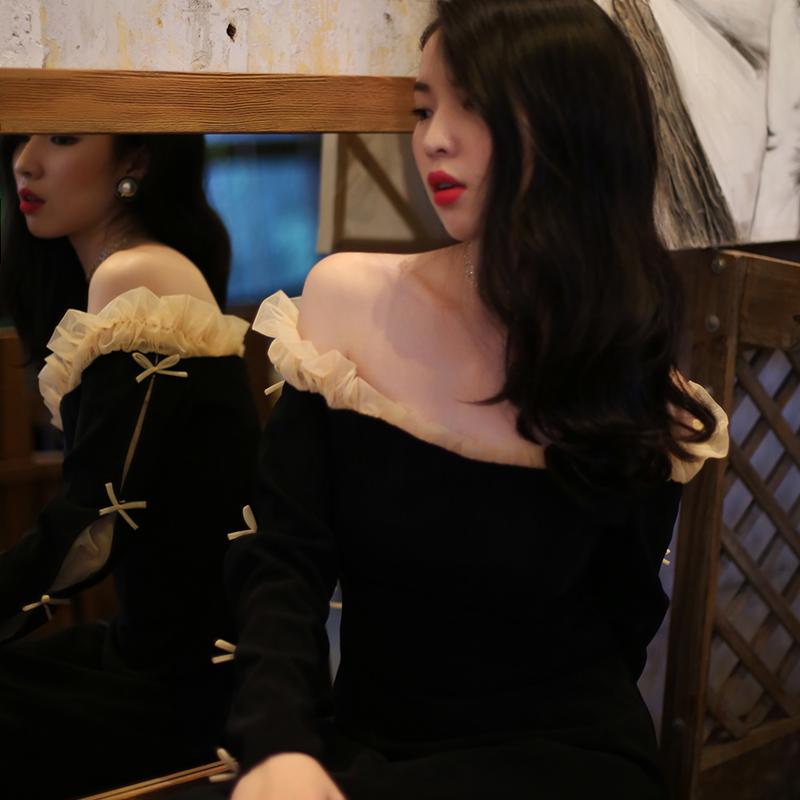 白蕊秋vintage宫廷风一字领蕾丝边露肩长袖中长连衣裙2020早春