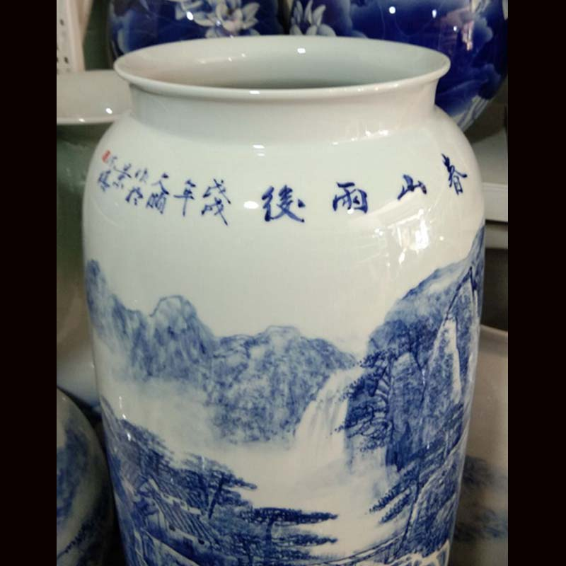 Jingdezhen blue and white landscape quiver hand - made elegant calligraphy and painting quiver high - grade cultural furnishing articles MD a sitting room