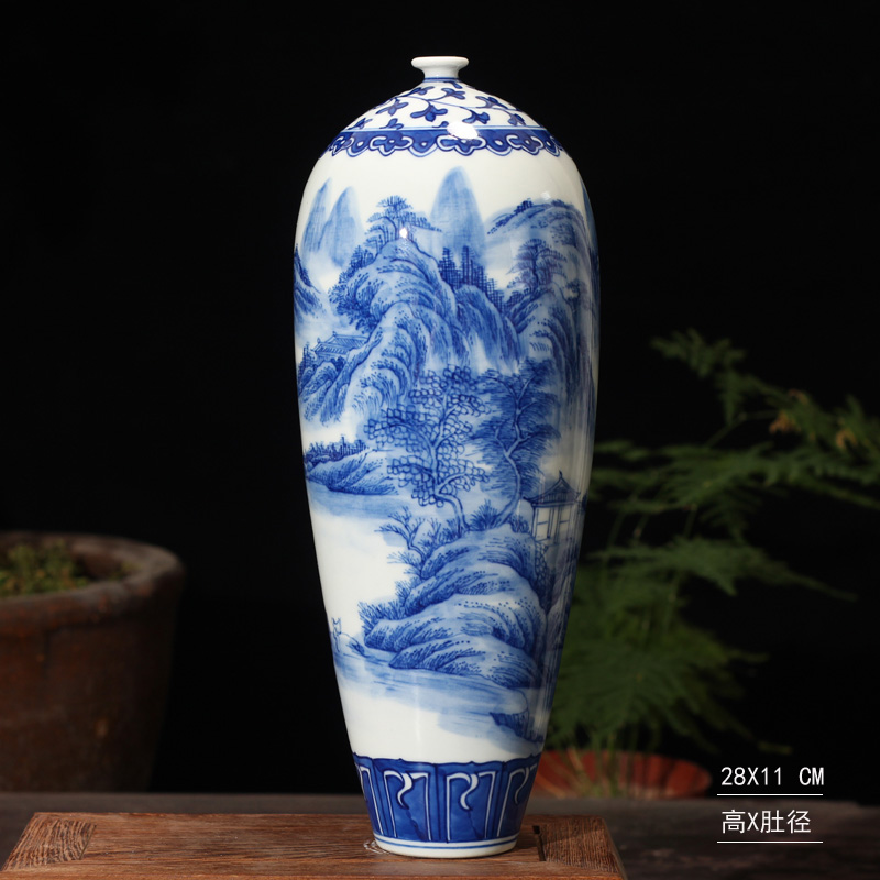 Jingdezhen hand - made scenery ears gift porcelain statute of high culture rich ancient frame boutique floret bottle furnishing articles