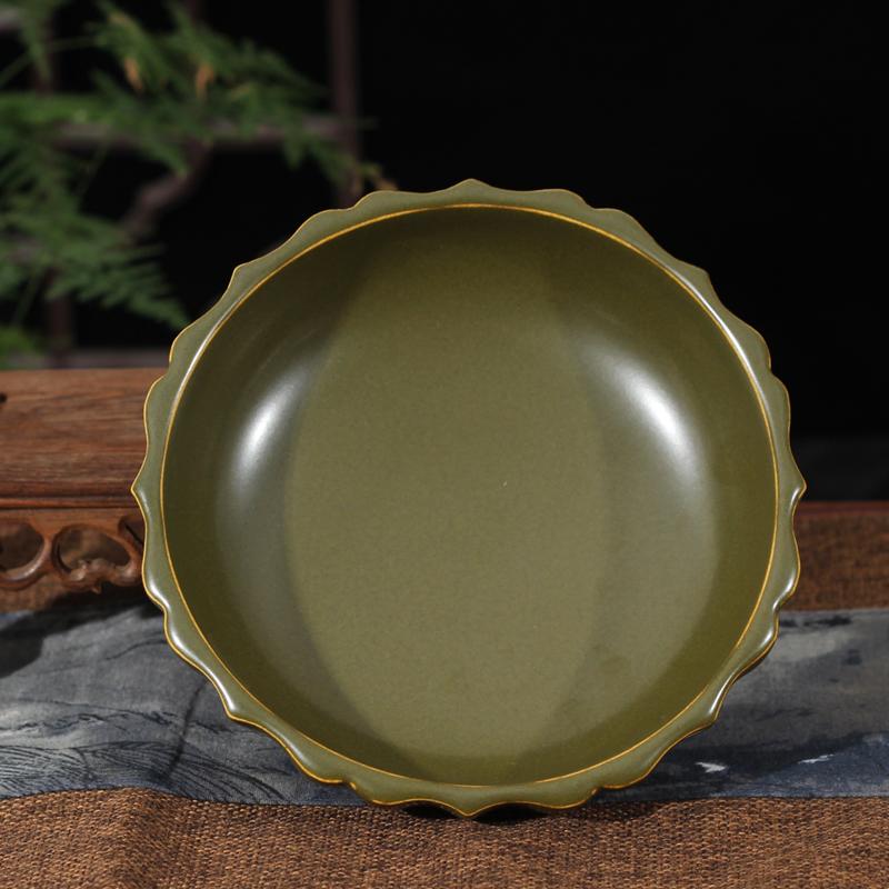 Jingdezhen single glaze at the end of the writing brush washer tea ashtray four writing brush washer porcelain censer tea at the end of the present
