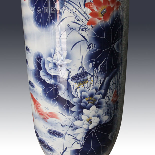Jingdezhen hand - made of blue and white in successive years more than straight quiver vase business hall landing display vase
