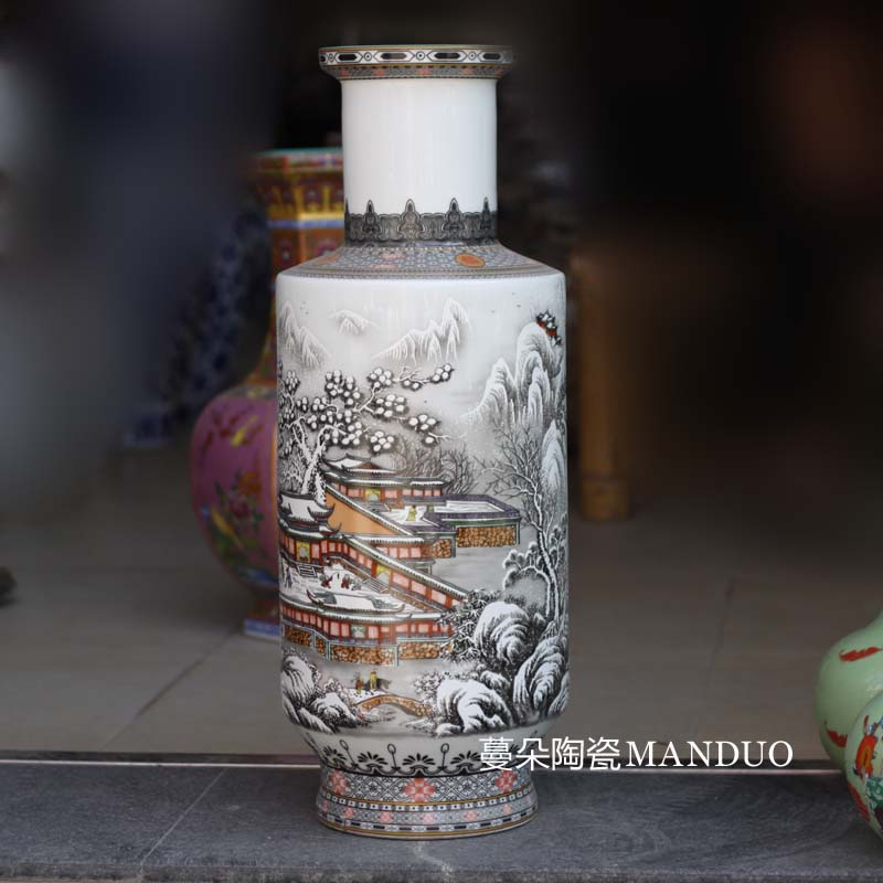 Archaize of jingdezhen ceramic vase display baseball classic furniture furnishing articles vase with classical home outfit decoration vase