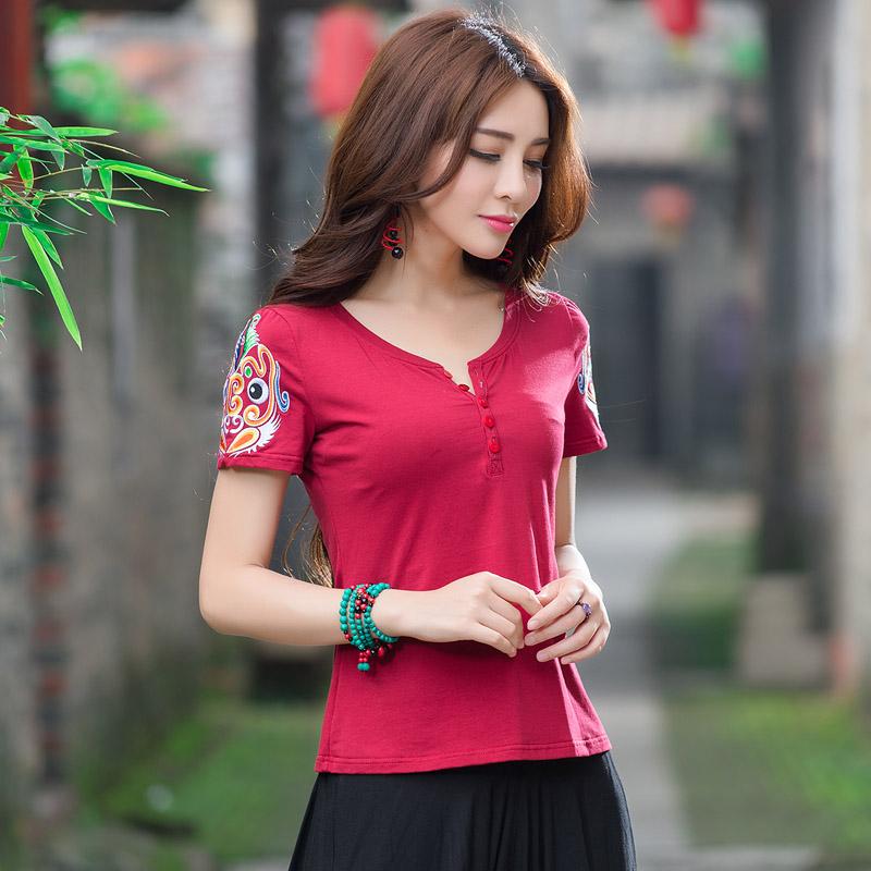 妃女装风打底新款夏季脸谱花民族t恤刺绣大码半袖中国风短袖衫