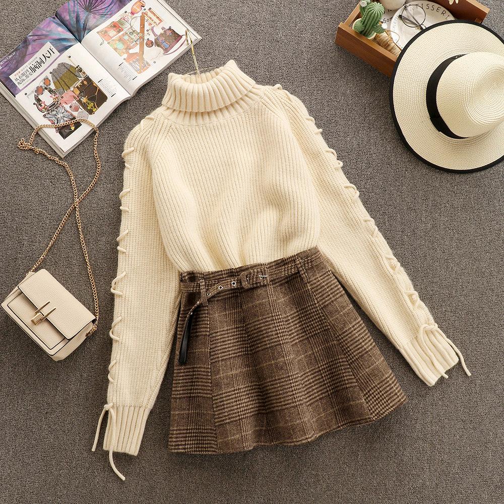 小香风加厚高领毛衣高腰呢子A字短裙子小个子两件套套装女秋冬