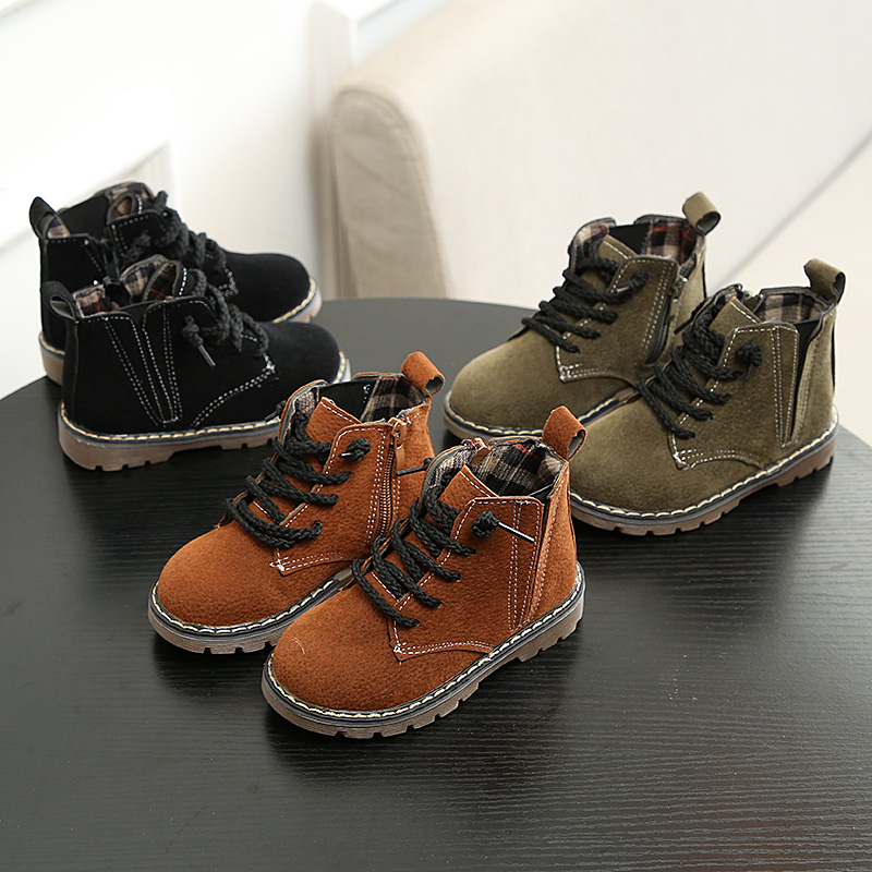 Children's shoes girls boots autumn and winter boots 2017 new single boots children's Martin boots boys baby two cotton shoes