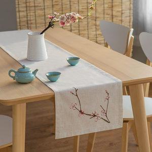 新中式亚麻绣花桌旗日式干泡茶旗禅意棉麻布艺茶席茶几电视柜盖布