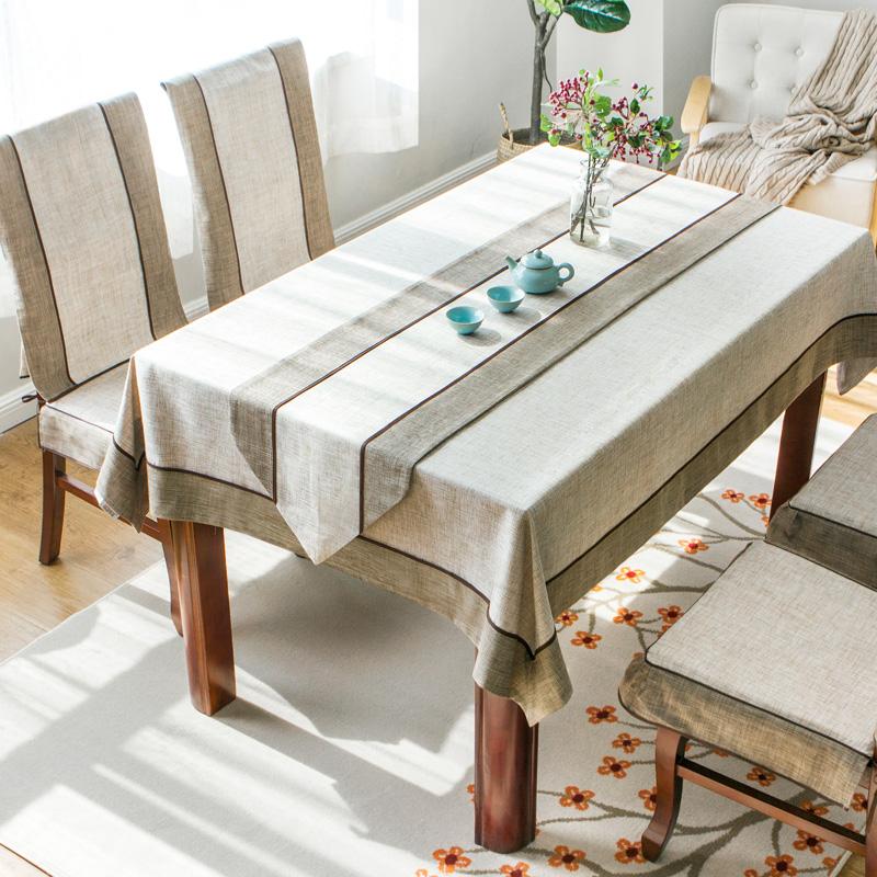 桌布布艺田园中式棉麻风现代简约茶几布长方形餐桌布椅套椅垫套装