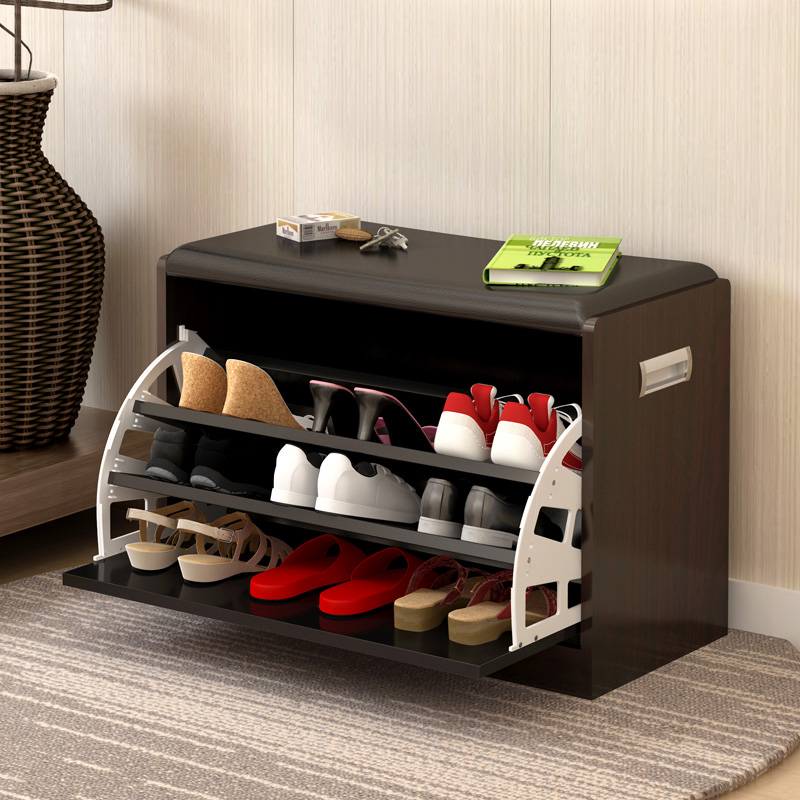 Fashion shoe change stool flip shoe cabinet Japanese-style entrance door entrance can sit on the shoe stool open door flip short shoe box