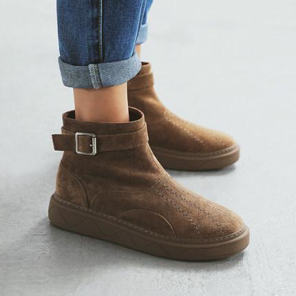 MASOOMAKE侧拉链松糕厚底雪地靴女短靴 冬季保暖加绒棉鞋女防水台