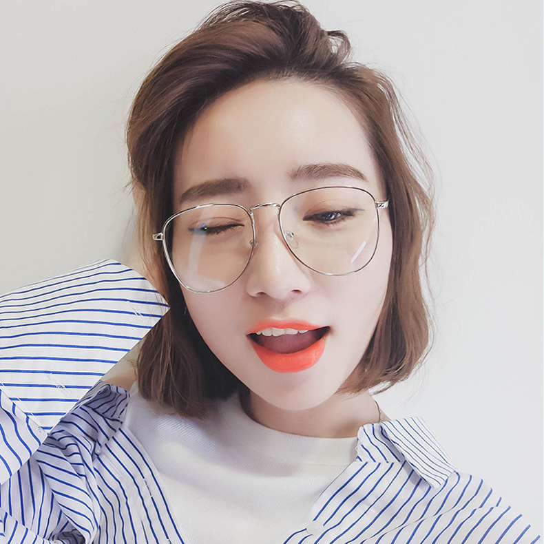 8481f42b14 Glasses female Korean version of the tide retro face small Harajuku ...