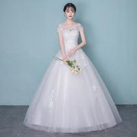 Легкое свадебное платье 2019 новая коллекция Корейский стиль слово Й плечо новый Niang простые беременные женщины сен супер фея мечтательный худой