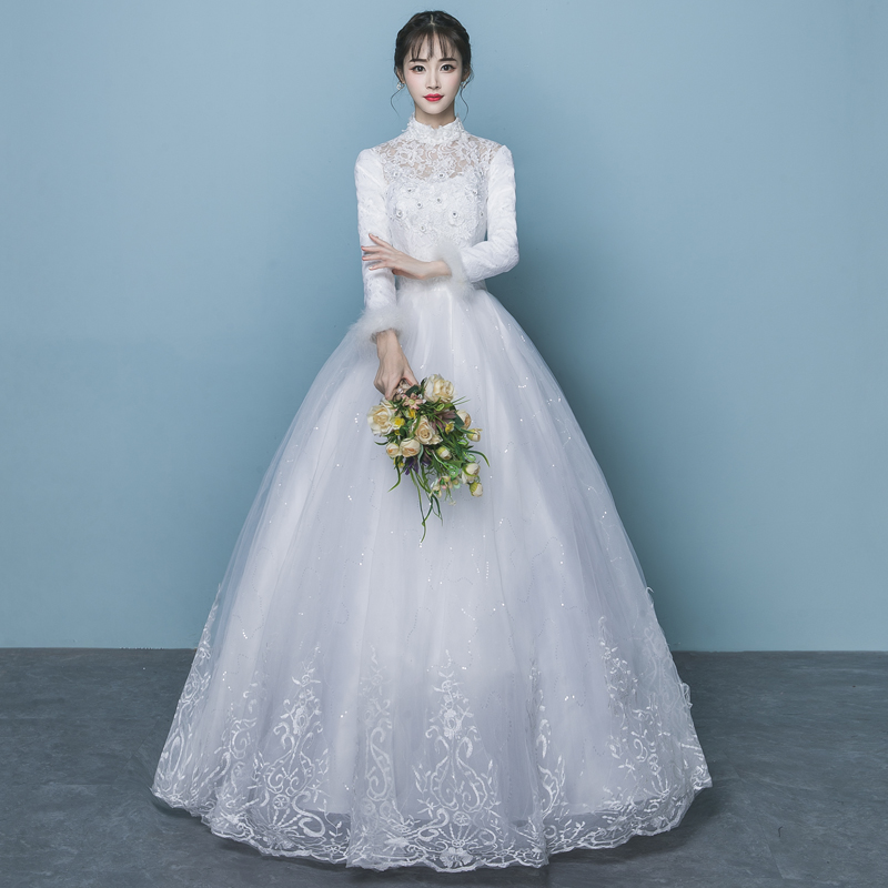 USD 132.88] Wedding dress 2018 winter new bride Korean version ...