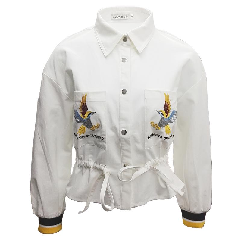 早春衬衫口袋绣花女士a衬衫百搭短夹克翻领外套潮流贴长袖