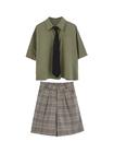 金大班学堂2019夏季新款工装风Polo领衬衫+格子短裤两件套装少女