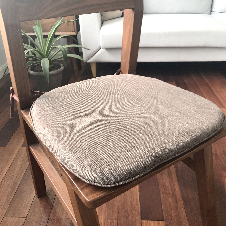 可拆洗椅子坐垫简约布艺纯色餐椅垫电脑座椅垫圆弧马蹄垫素色棉麻