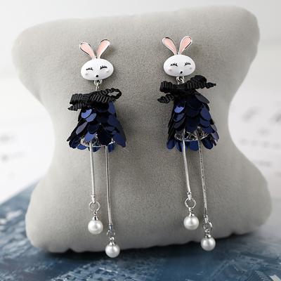 s925纯银针小兔子耳环韩国