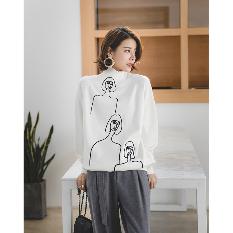 Autumn new half-high collar white sweater female students long-sleeved  abstract head like 0e0497dcc