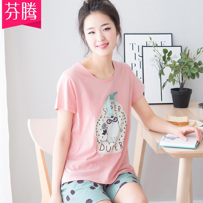 Fenteng new pyjama mùa hè cotton mỏng phần ngắn tay ngắn Hàn Quốc giản dị mùa hè cotton phục vụ nhà - Giống cái