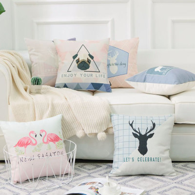 Nordic minimalist cotton and linen pillow sofa bay window bedside office lumbar pillow nap pillow car backrest pillow