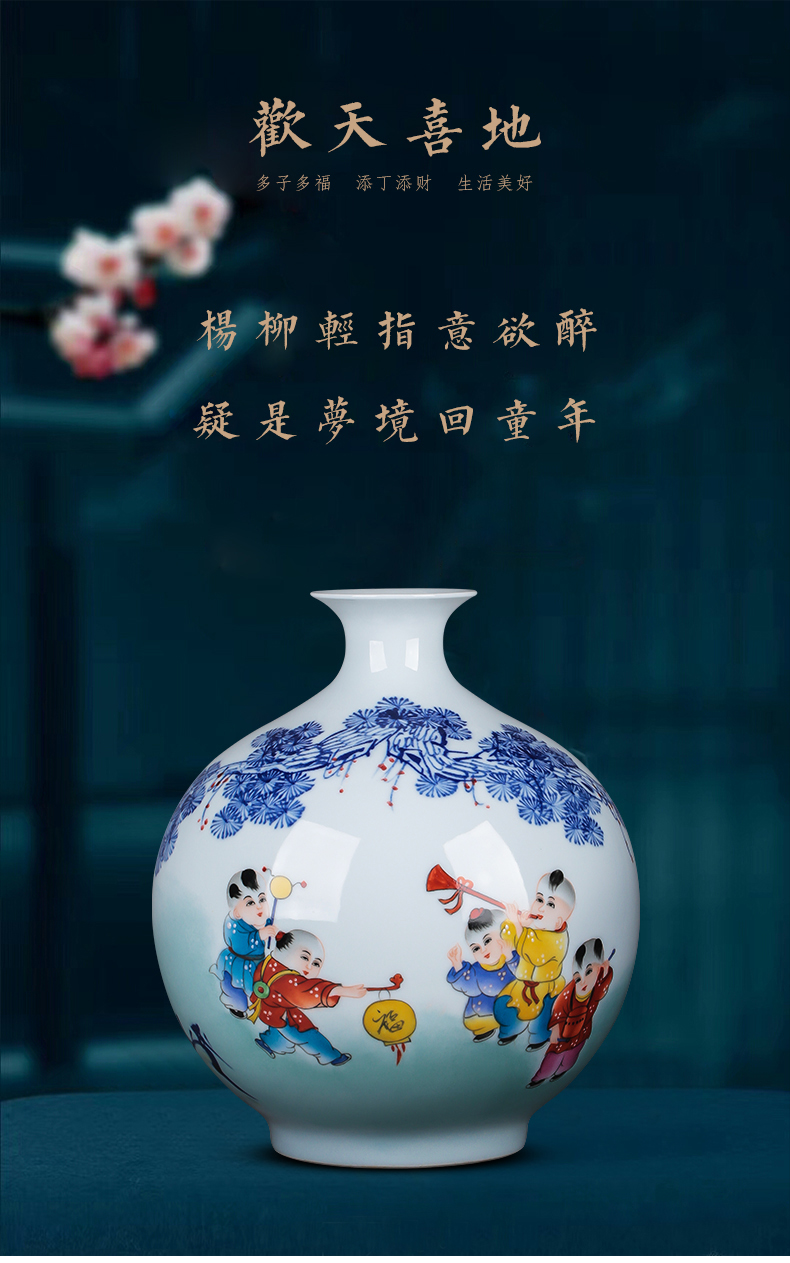 Jingdezhen ceramics hand - made vases pomegranate bottle flower arranging Chinese ancient frame sitting room TV ark, act the role ofing is tasted furnishing articles