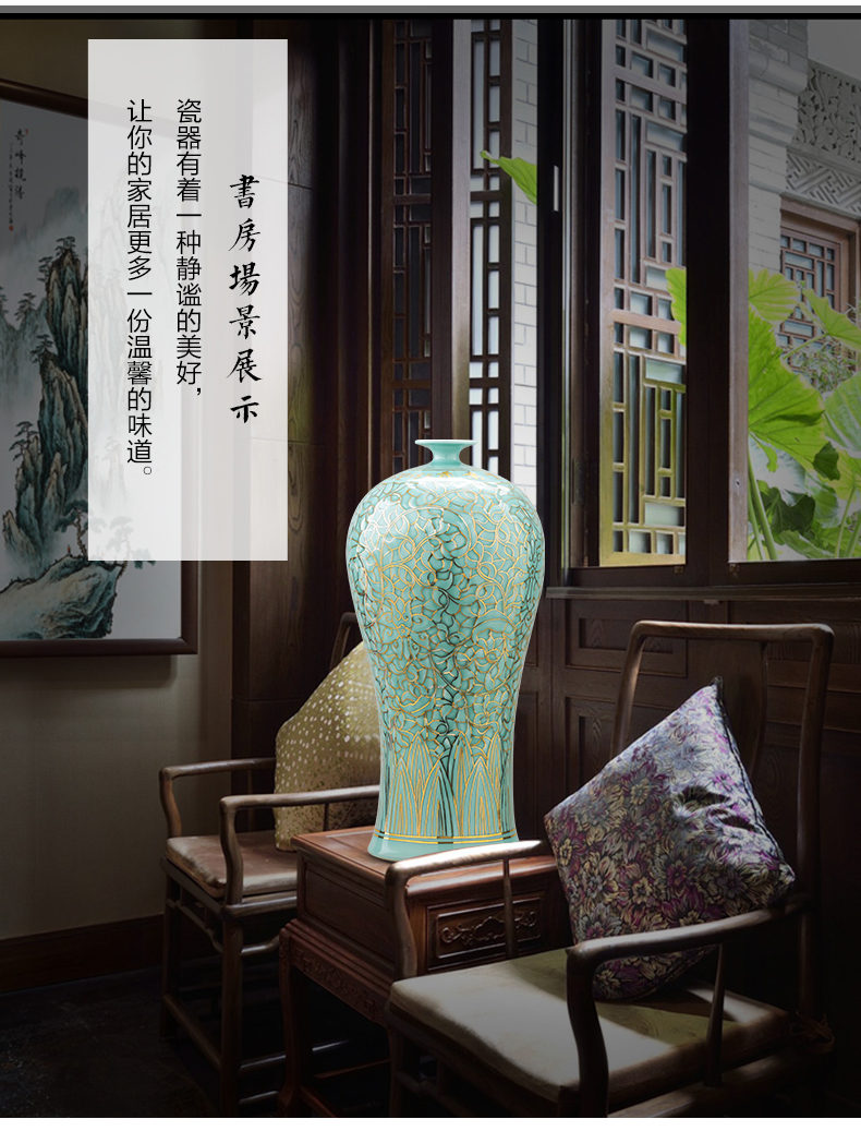 Jingdezhen ceramics vase manual reliefs green glaze decoration paint the living room of Chinese style household office furnishing articles