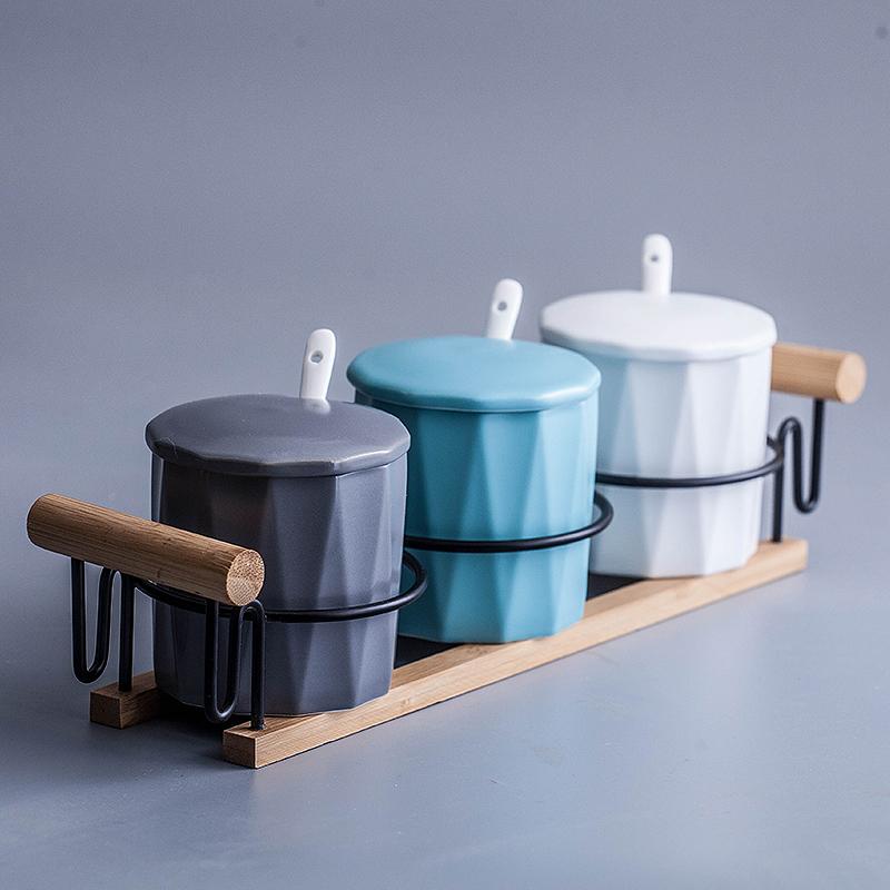 北欧调料调味罐厨房盒套装陶瓷v调料装家用日式带盖盐糖罐调料罐