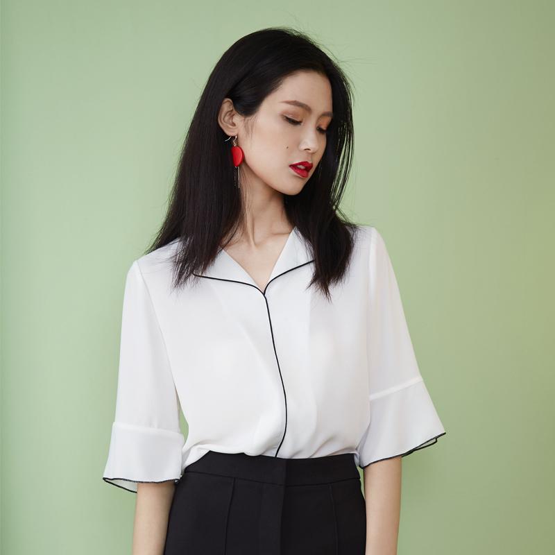 范思蓝恩衬衫短袖白色2018夏新款韩版百搭衬衣雪纺女士领修身西装