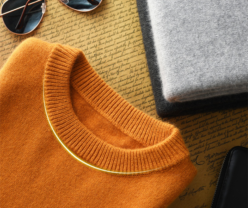 暖加厚羊绒衫圆领毛衣套头打底大码纯色针织衫V领名扬羊毛衫男士