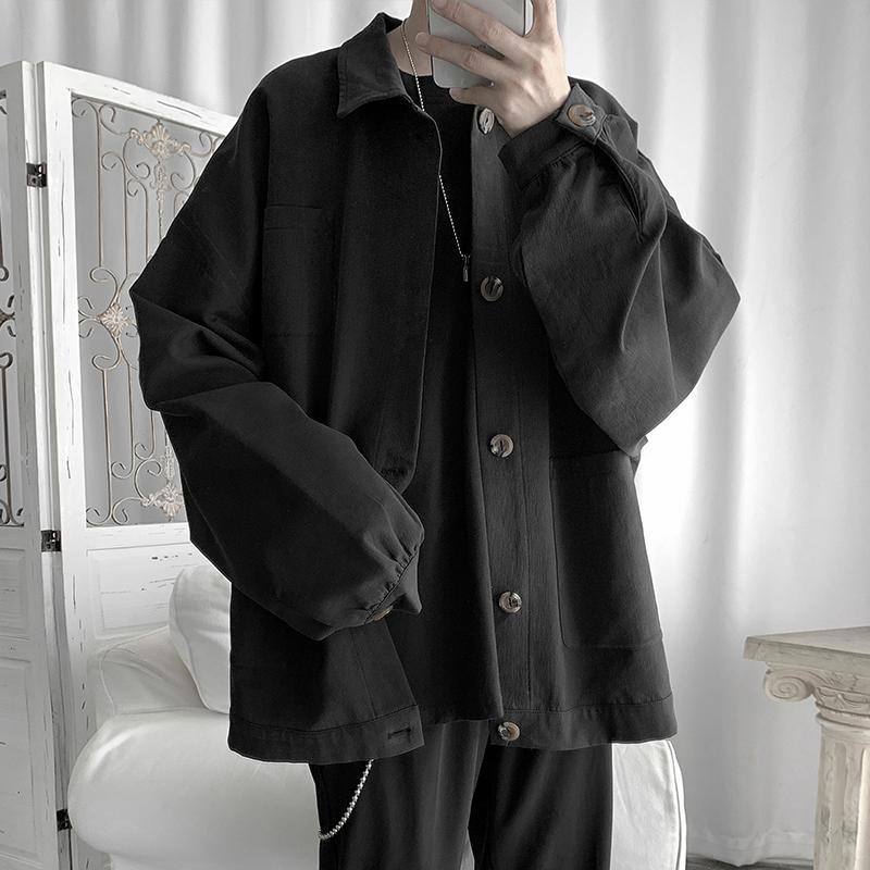 Zijun nam mùa xuân và mùa thu màu đen tối ve áo khoác giản dị hợp thời trang nam đơn giản màu rắn lỏng áo khoác dụng cụ bf hàng đầu - Cao bồi