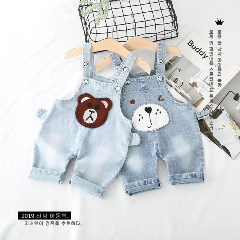 夏季男童背带裤背带软宝宝小童裤子短裤婴儿女童中裤七分牛仔薄款