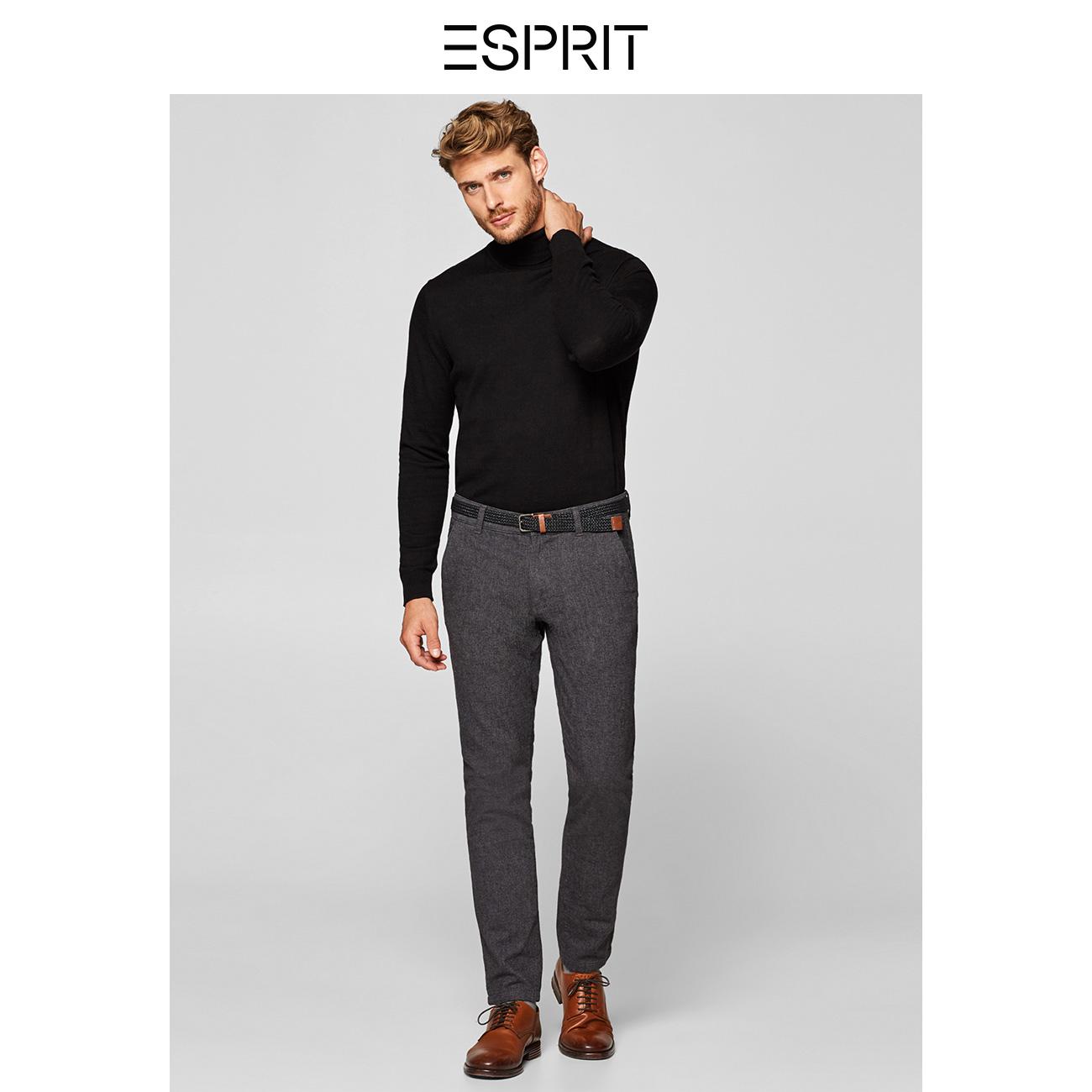 ESPRIT商场同款商务休闲裤男装含腰带直筒长裤冬-108EE2B003