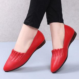 【真皮】春秋新款平跟女款皮鞋