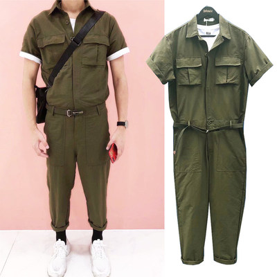 Japanese retro tooling piece of trousers set men's tide men's loose short-sleeved migrant coat trend