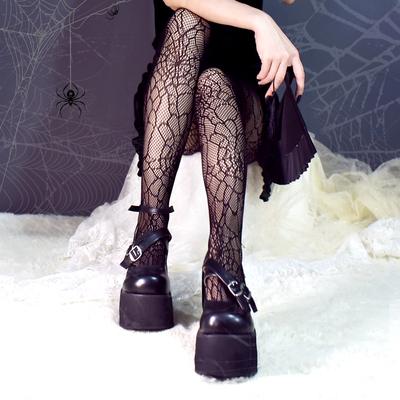 taobao agent Free shipping dark Harajuku spider web socks Japanese Lolita stockings cool girl high stretch hollow socks