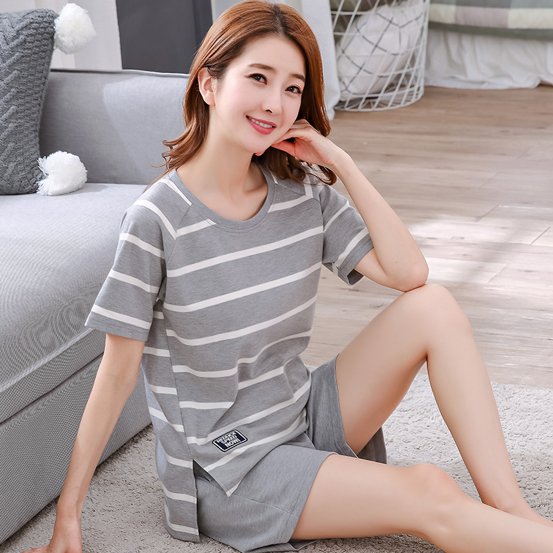 Summer pajamas girls cotton spring and autumn cute cartoon ladies short-sleeved Korean pajamas large size home service suits