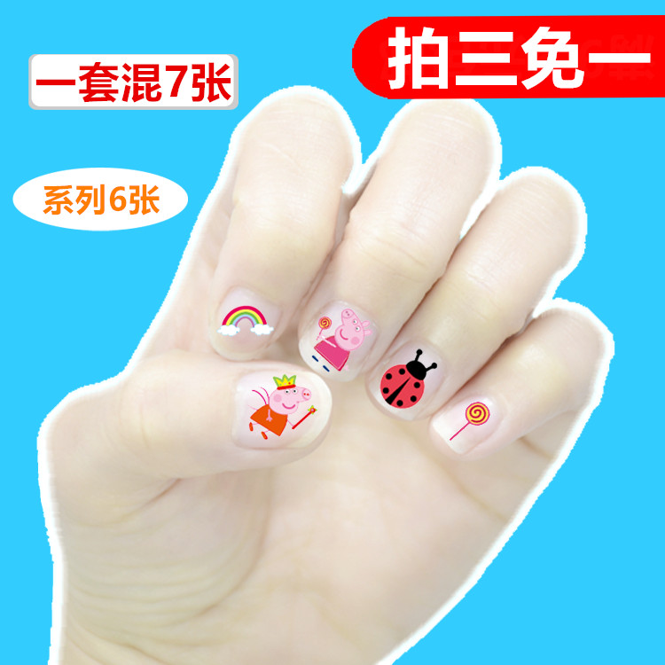 USD 6.47] Children nail stickers for girls Korean Princess ...