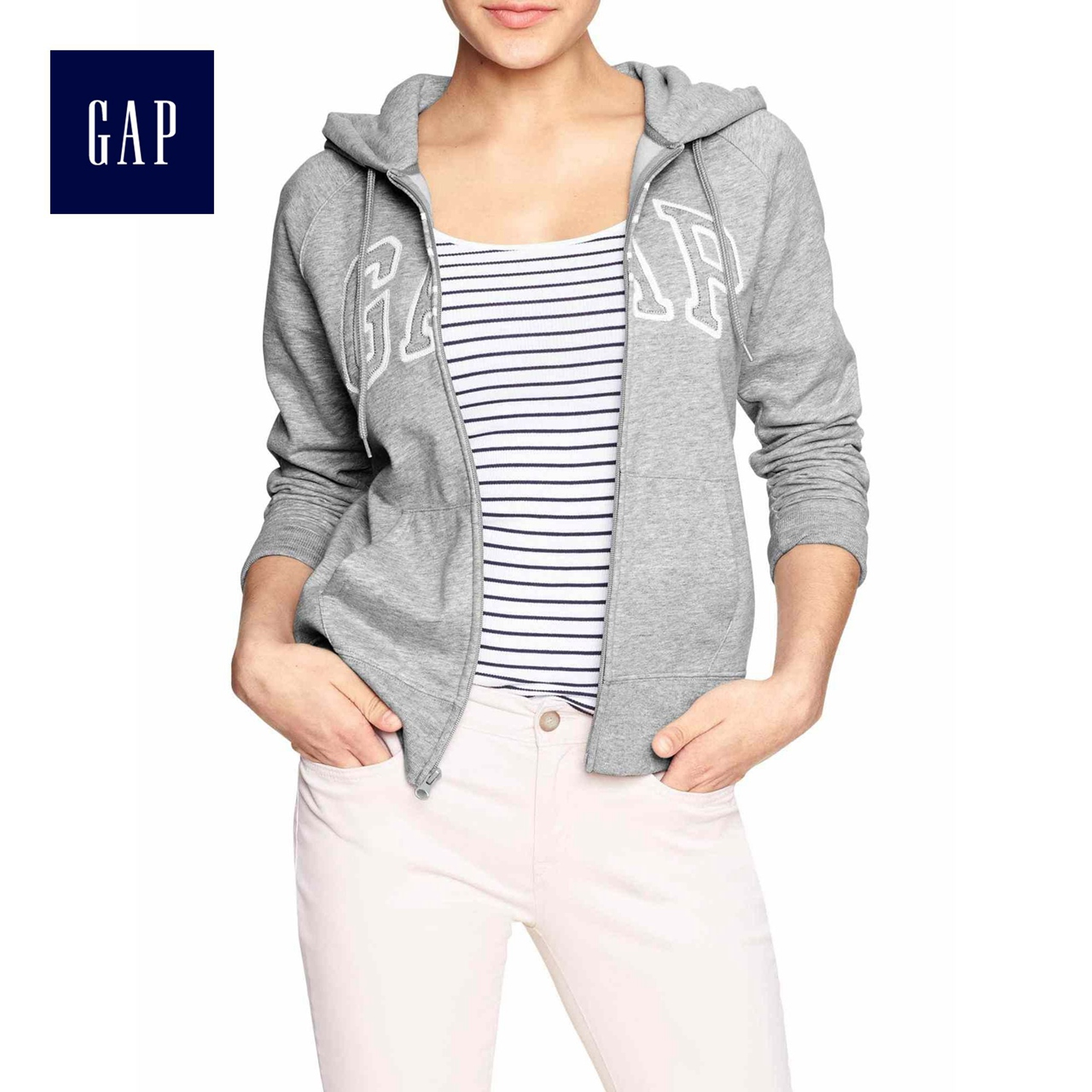 USD 96.10] Gap Women's logo fleece zipper hooded sweater Kangaroo ...