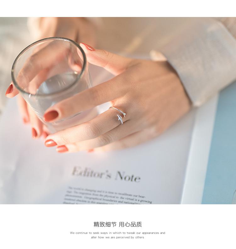 【巷南】纯银海豚开口戒女韩版可爱创意简约个性网红戒指详细照片